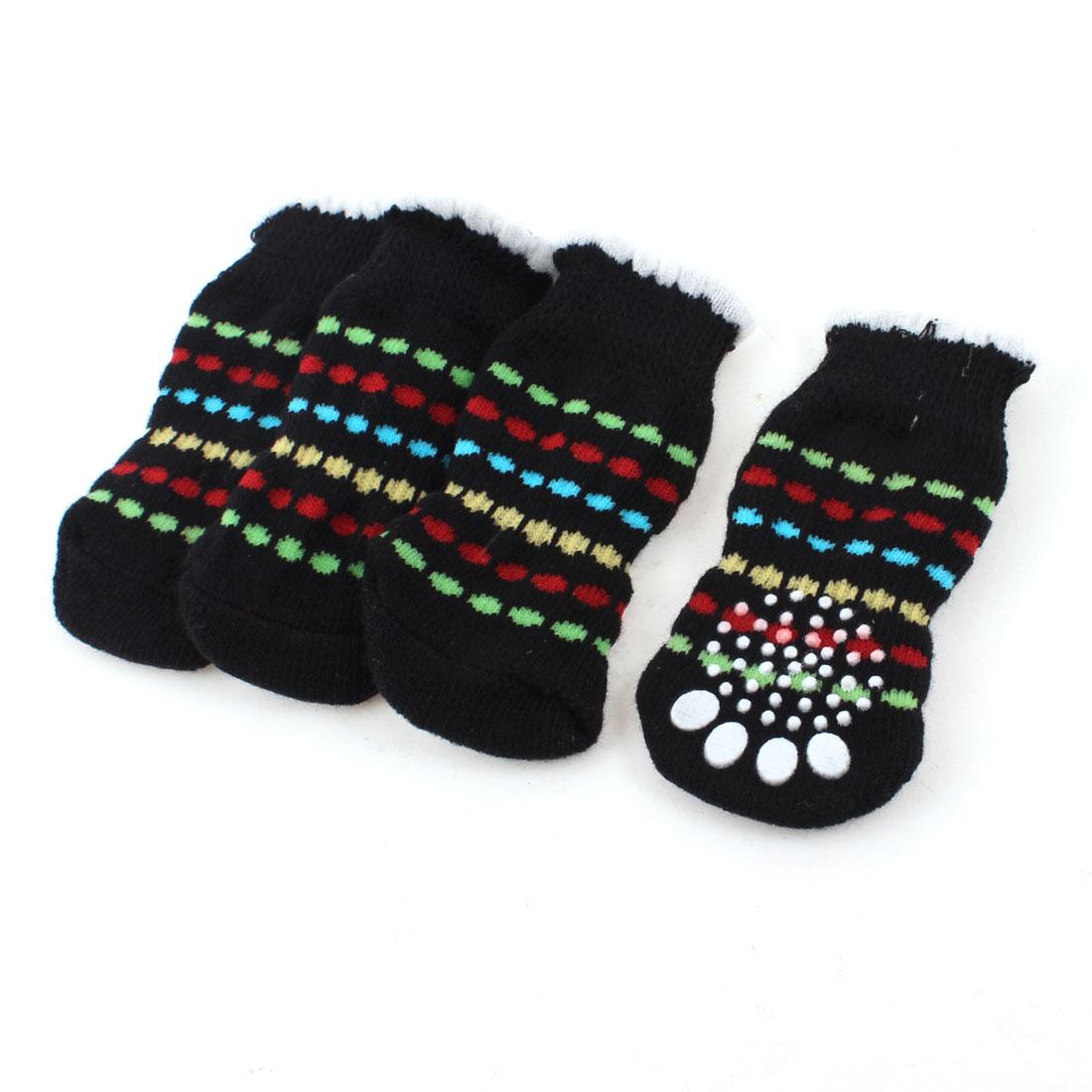 2 Pairs Black White Knitting Paw Pattern Elastic Nonslip Pet Dog Puppy Socks