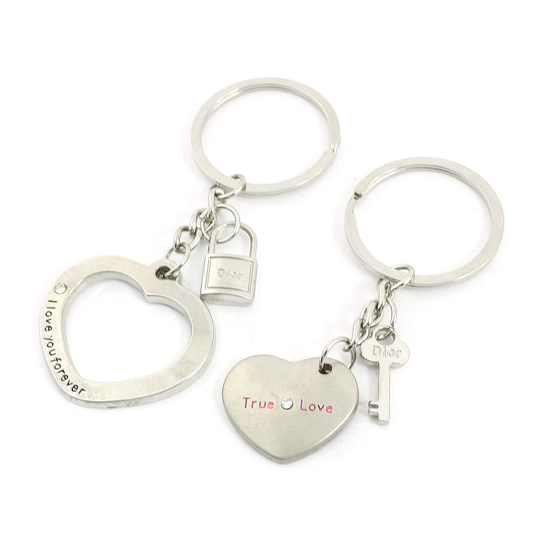 Silver Tone Love Heart Pendant Lovers Keyrings Keychains 2 Pieces