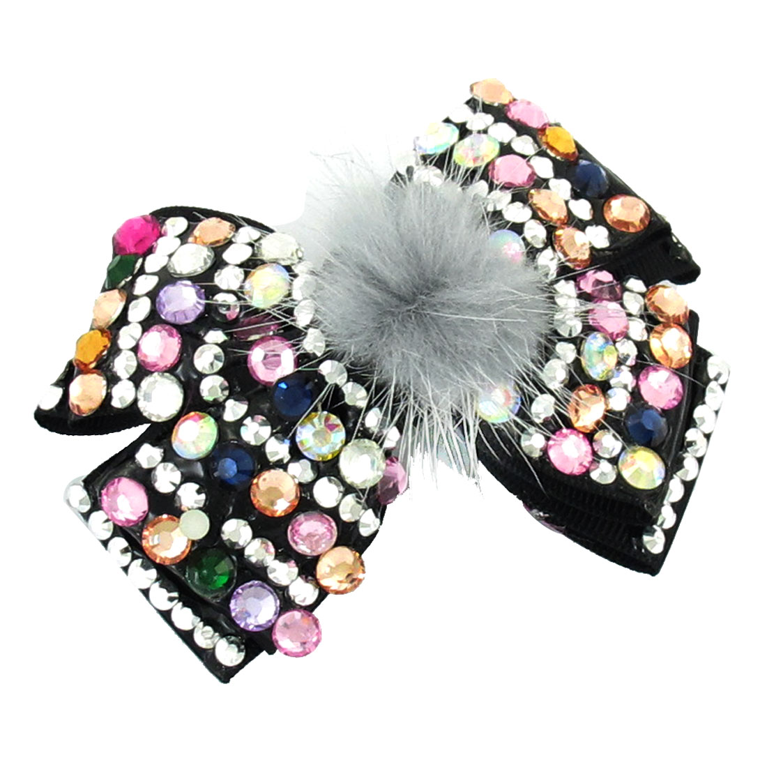 Women Colorful Plastic Rhinestones Decor Black Bowtie Accent Hair Clip Barrette