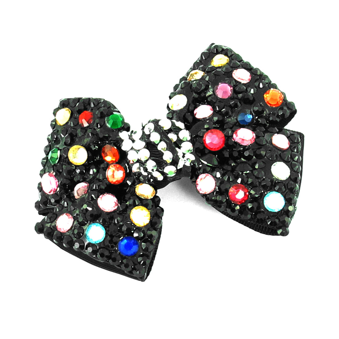 Girls Colorful Faux Rhinestones Detail Black Bowtie Ornament Hair Alligator Clip