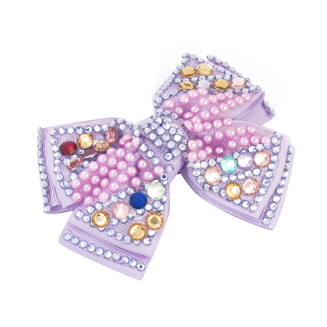"Ladies 3.7"" Long Light Purple Bow Tie Detail Metal Hair Clip Hairclip Barrette"