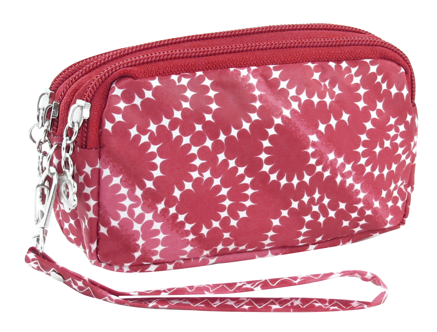 Nylon Lining 3 Zip Pockets Cash Keys Wristlet Purse Wallet Red White for Women