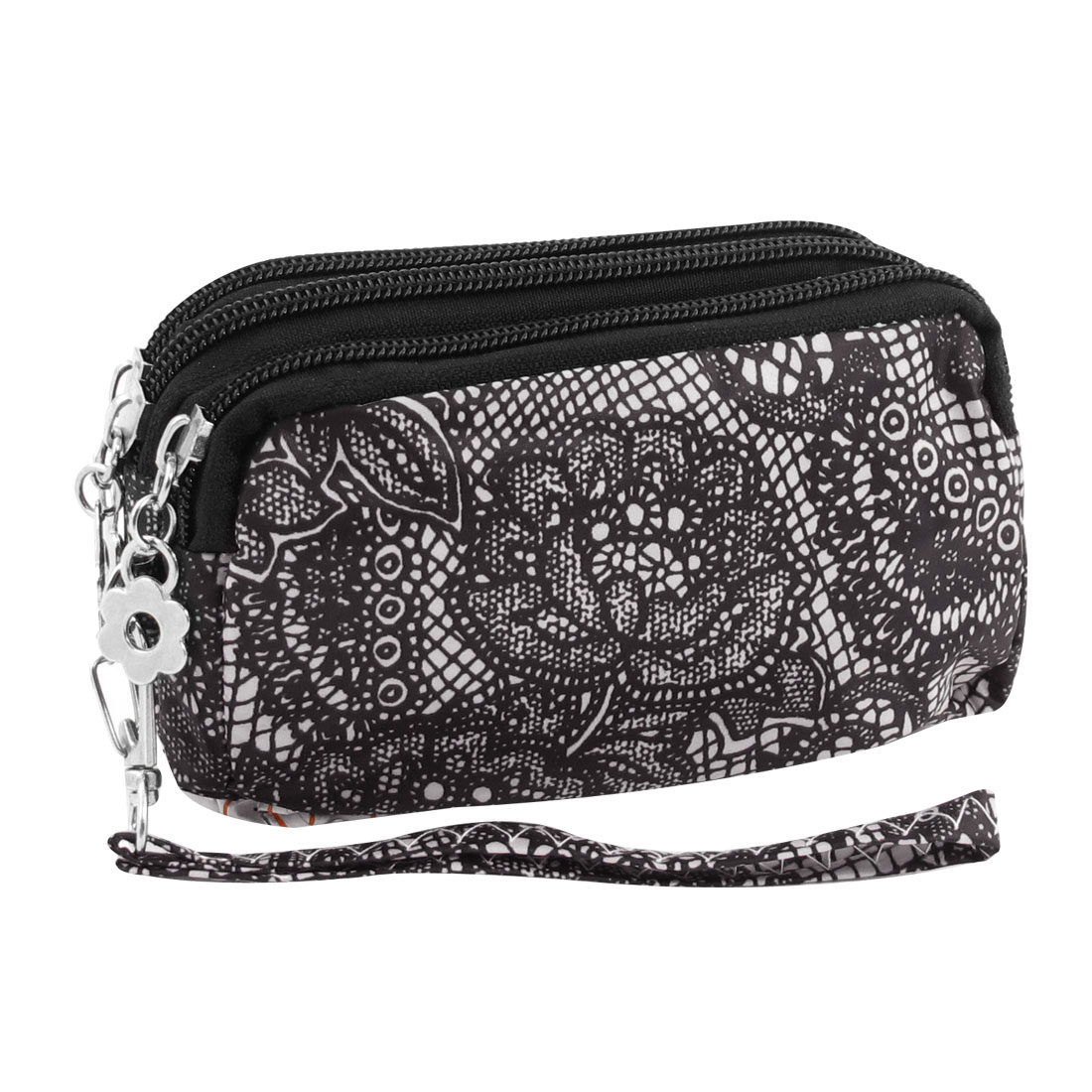 Ladies Nylon Lining Three Zip Pockets Cash Wristlet Purse Wallet Black White
