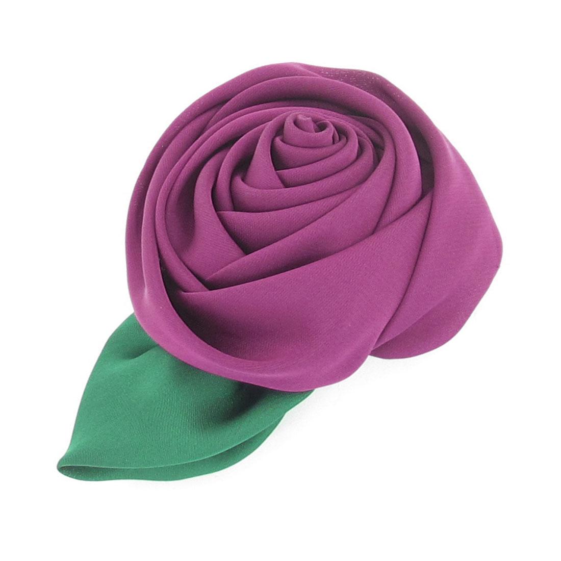 "Ladies 3.1"" Diameter Dark Purple Rosy Detail Metal Hair Clip Hairclip Barrette"