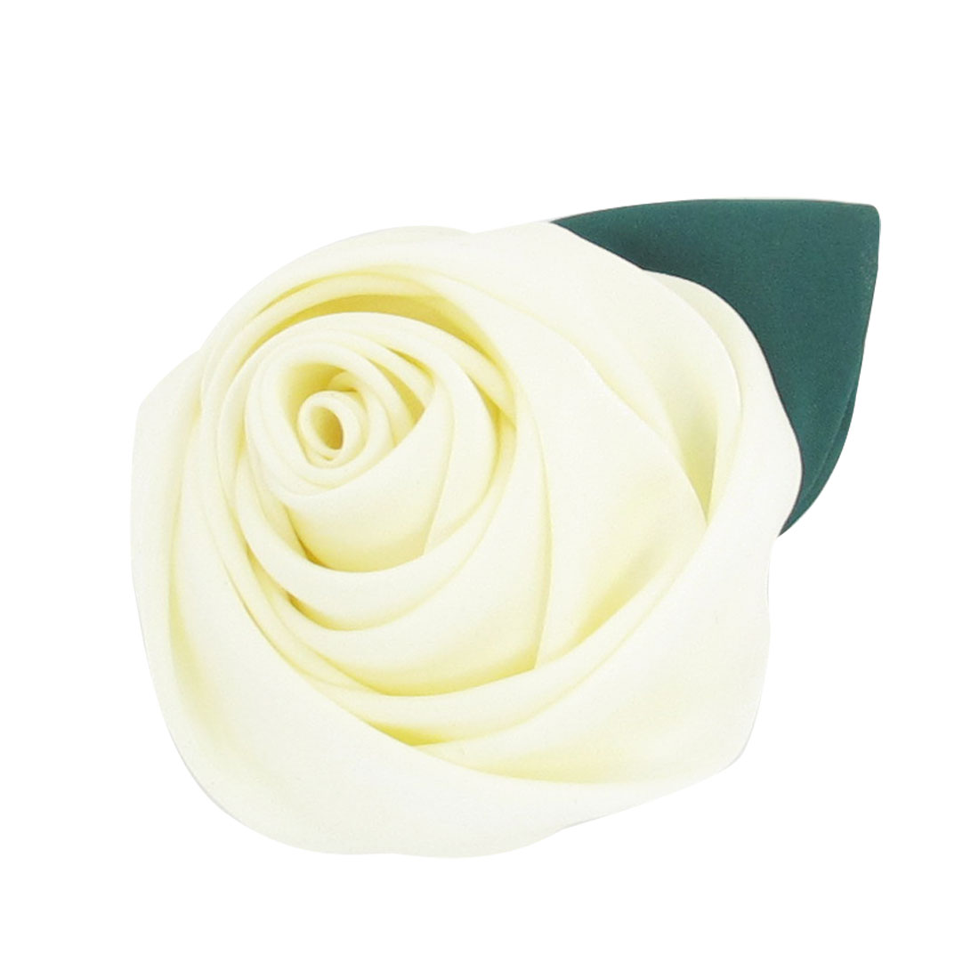 Women White Polyester Rosy Flower Oranment Hair Clip Hairclip Barrette