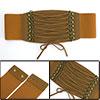 Ladies Press Stud Button Lace Up Cinch Waist Belt 7.5CM Wide Brown