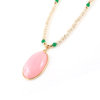 Pink Faux Agate Inlaid Round Bead Linked Sweater Necklace for Women