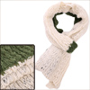 Man Color Block Green Beige Winter Warm Soft Knitting Scarf