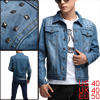 Men Point Collar Studs Decor Light Bule Denim Jacket M