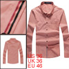 Men Single Breasted Front Long Sleeved Salmon Casual Shirt S