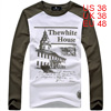 Men Long Sleeves Round Neck Khaki Shirt M