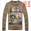 Men Letters Prints Long Sleeved Casual Khaki Shirt S