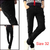 Men Button Closed Zip Up Four Pocket Black Skinny Jeans Pants W32