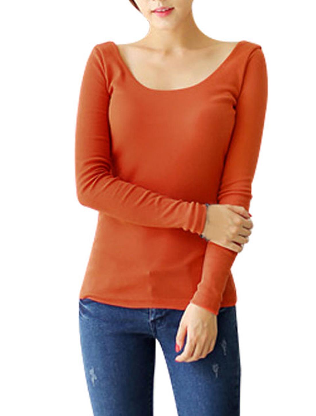 Women Long Sleeve U Neck Close-fitting Casual Shirt Top Orange XS