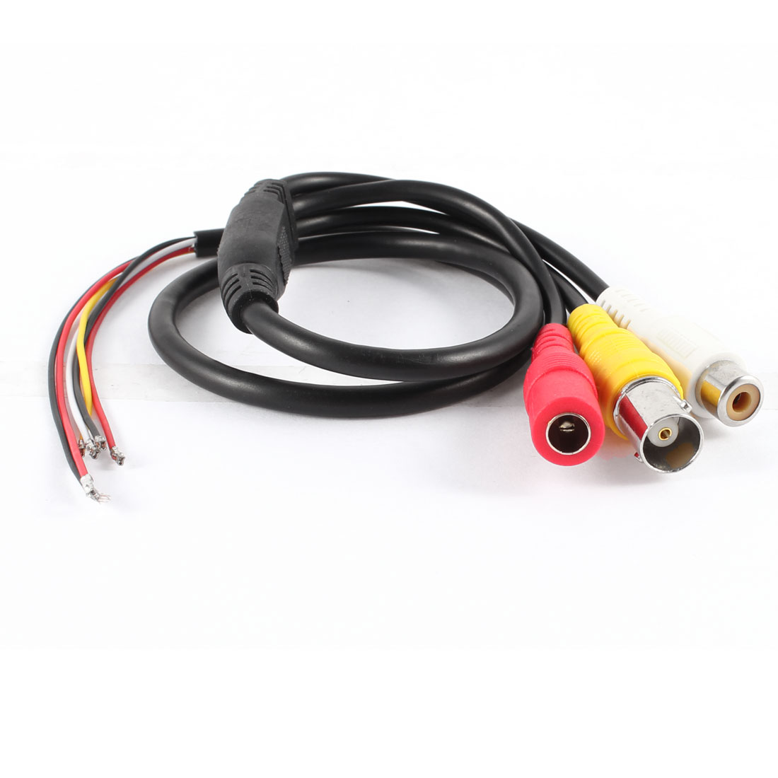 Security CCTV Camera RCA BNC DC Female Jack Video Audio Cable Black