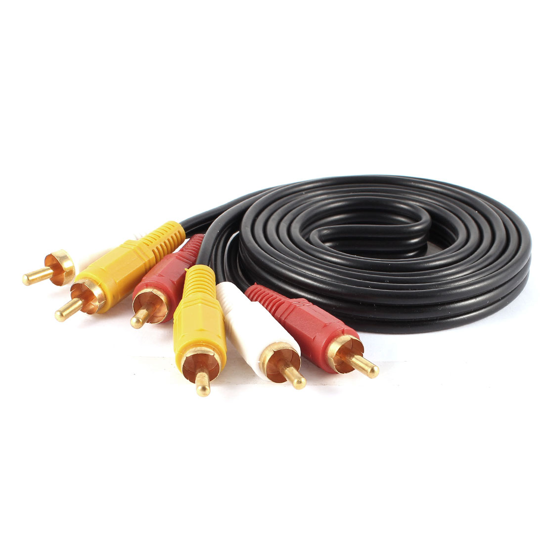 1.5M 4.9Ft 3 RCA Male to 3-RCA Male Audio AV Aux Video Cable Cord Black