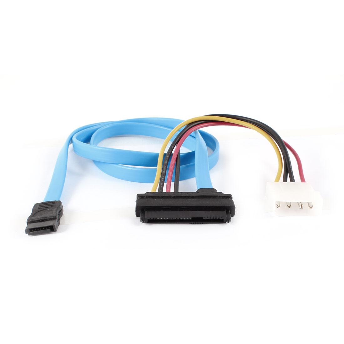 SATA7+15p to 7 Pin SATA Data 4 Pin Power Cable 70cm Long Blue