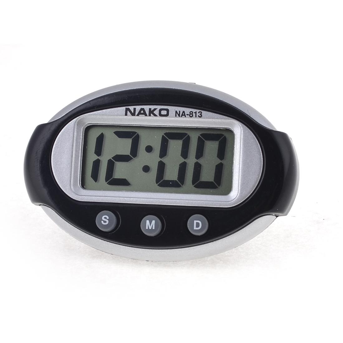 Oval Plastic Three Buttons LED Display Electronic Big Digital Car Clock