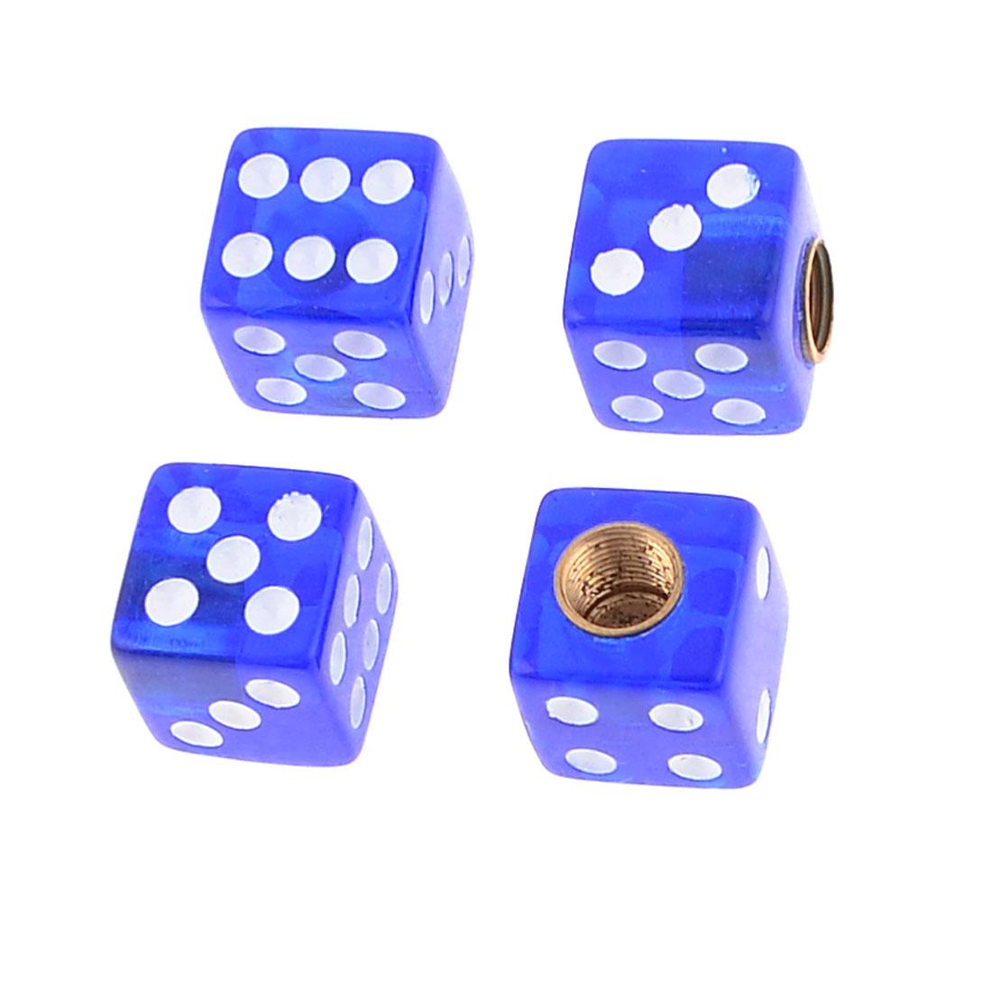 4 Pcs Blue Noctilucence Cube Dice Shape Tyre Valve Cap Cover