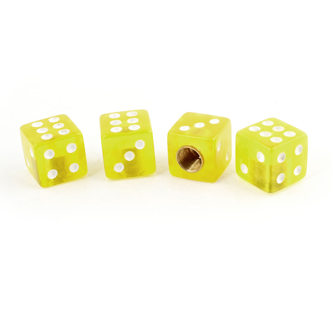 Vehicle Car Tyre Valve Cap Cover Dice Shape Yellow 4 Pcs