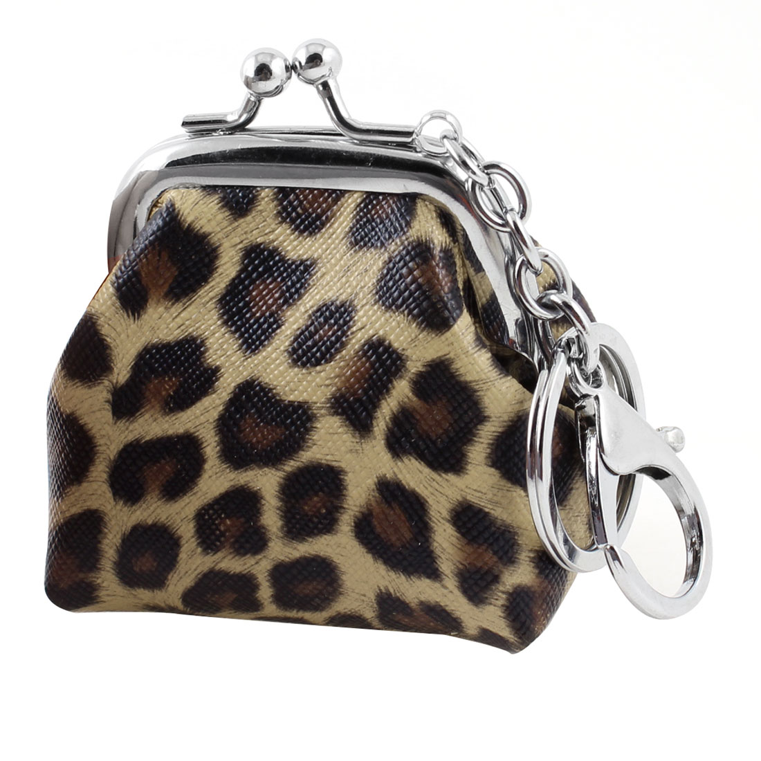 Lady Portable Kisslock Closure Coffee Color Coins Keys Purse Bag w Key Chain