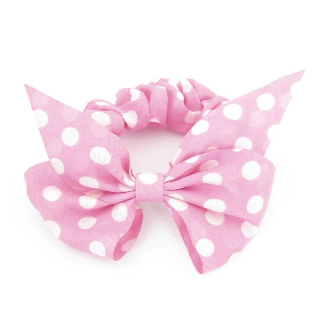 Girls White Polka Dot Bowknot Pattern Elastic Band Ponytail Holder Pink