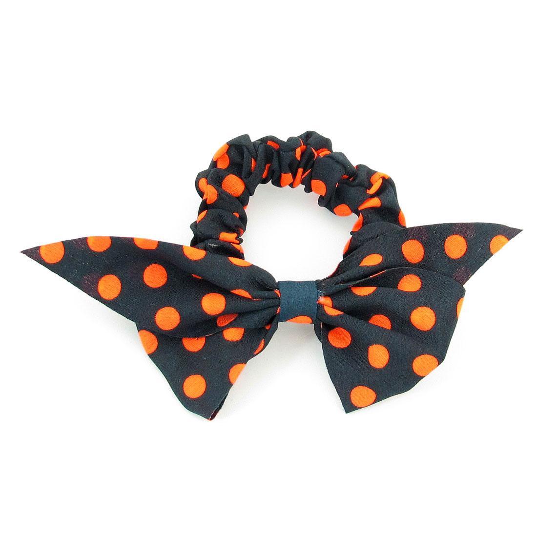 Black Bowknot Shape Design Orange Dot Print Elastic Hair Tie for Girls
