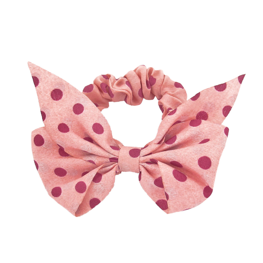 Girls Pink Fushcia Polyester Bowtie Decor Dots Pattern Elastic Band Ponytail
