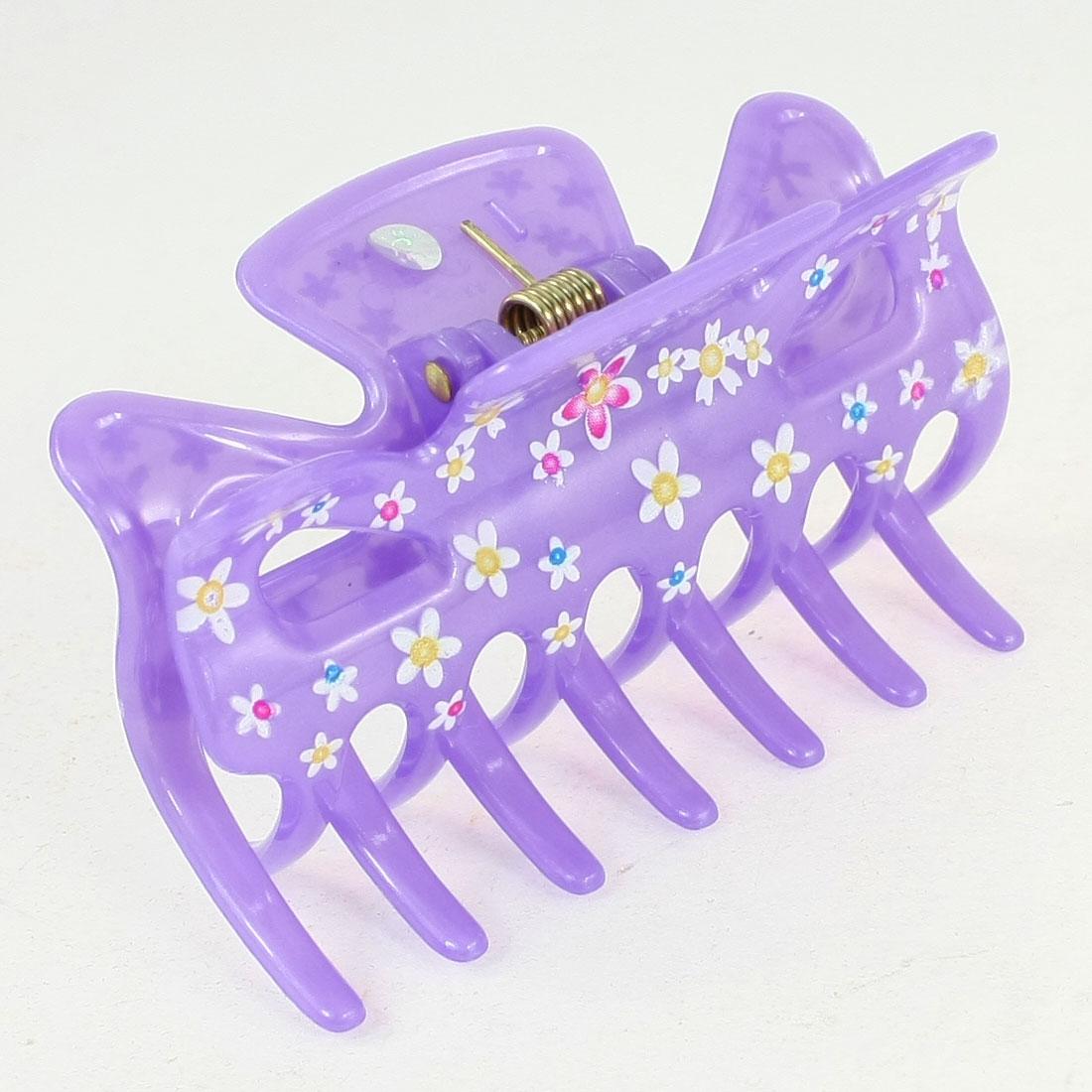 DIY Hairdressing Purple Plastic Barrette Hairclip for Ladies