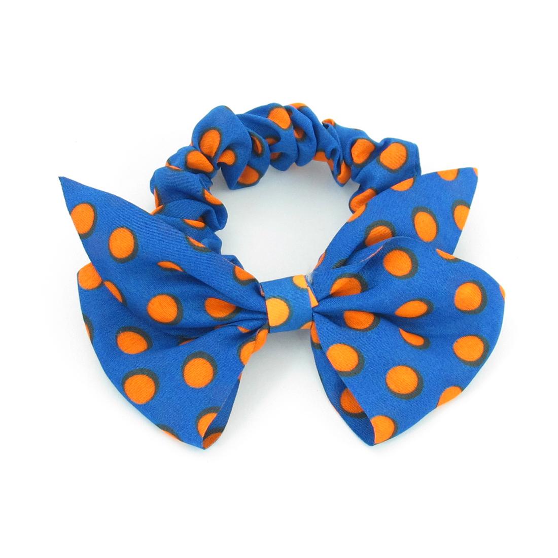 Women Bright Orange Dots Pattern Bowtie Decor Elastic Ponytail Holder Blue