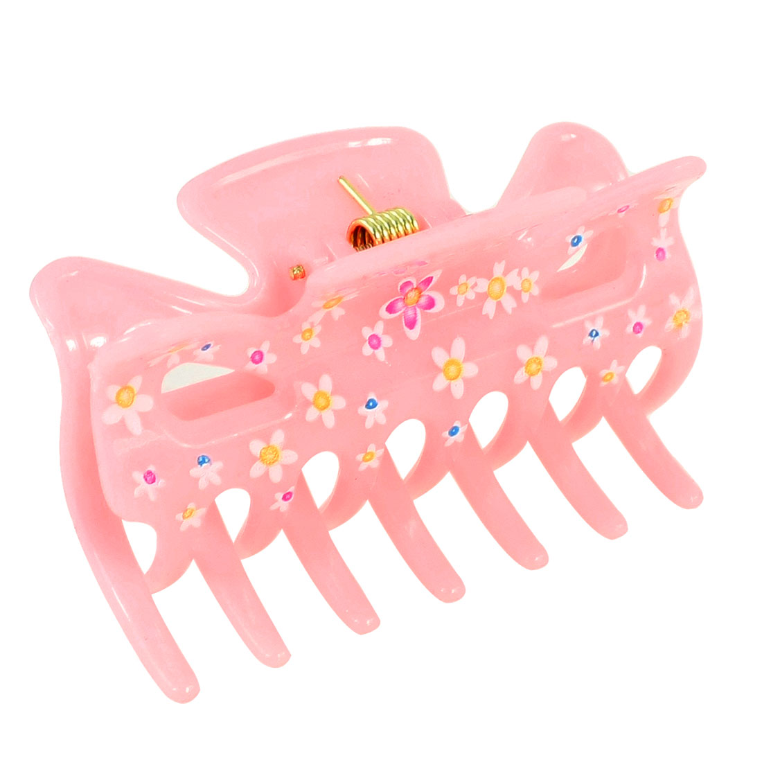 "Girls Light Pink Floral Print Plastic Barrette Hair Clip Claw Clamp 2.7"" Long"