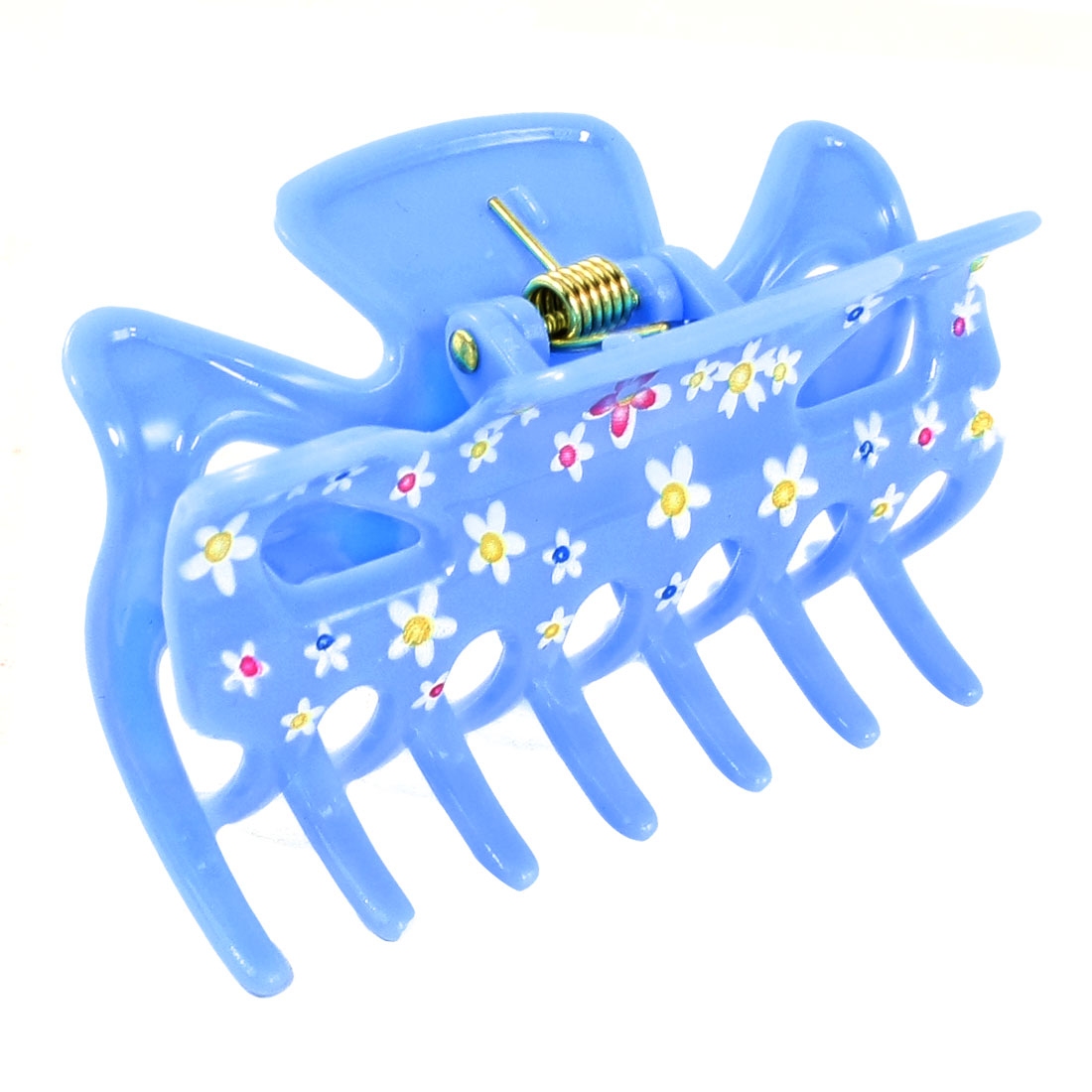 DIY Hairdressing Blue Plastic Floral Print Hair Claw Clamp for Ladies