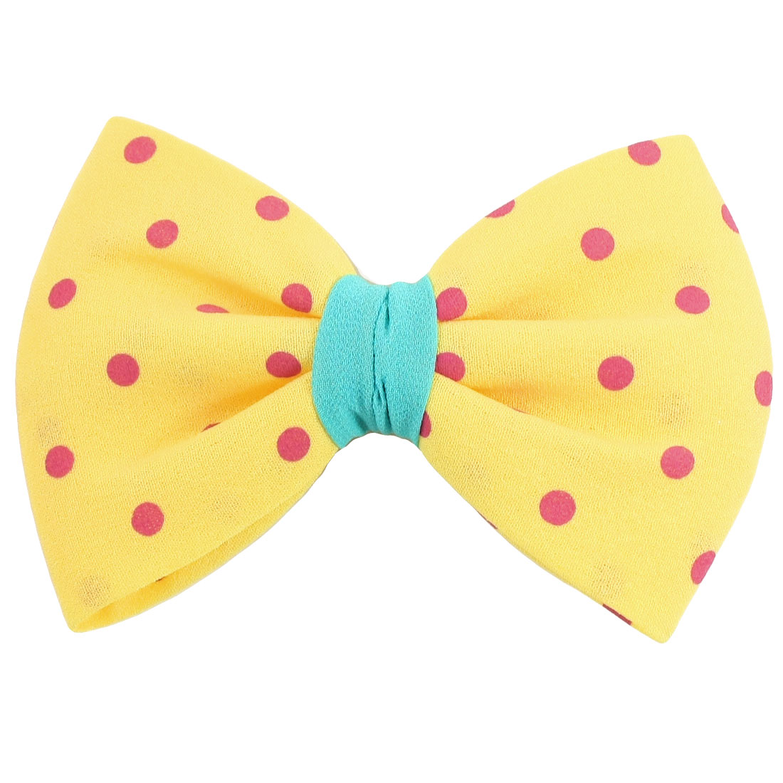 Bow Pattern Dots Decor Hair Barrette Ornament Yellow for Woman