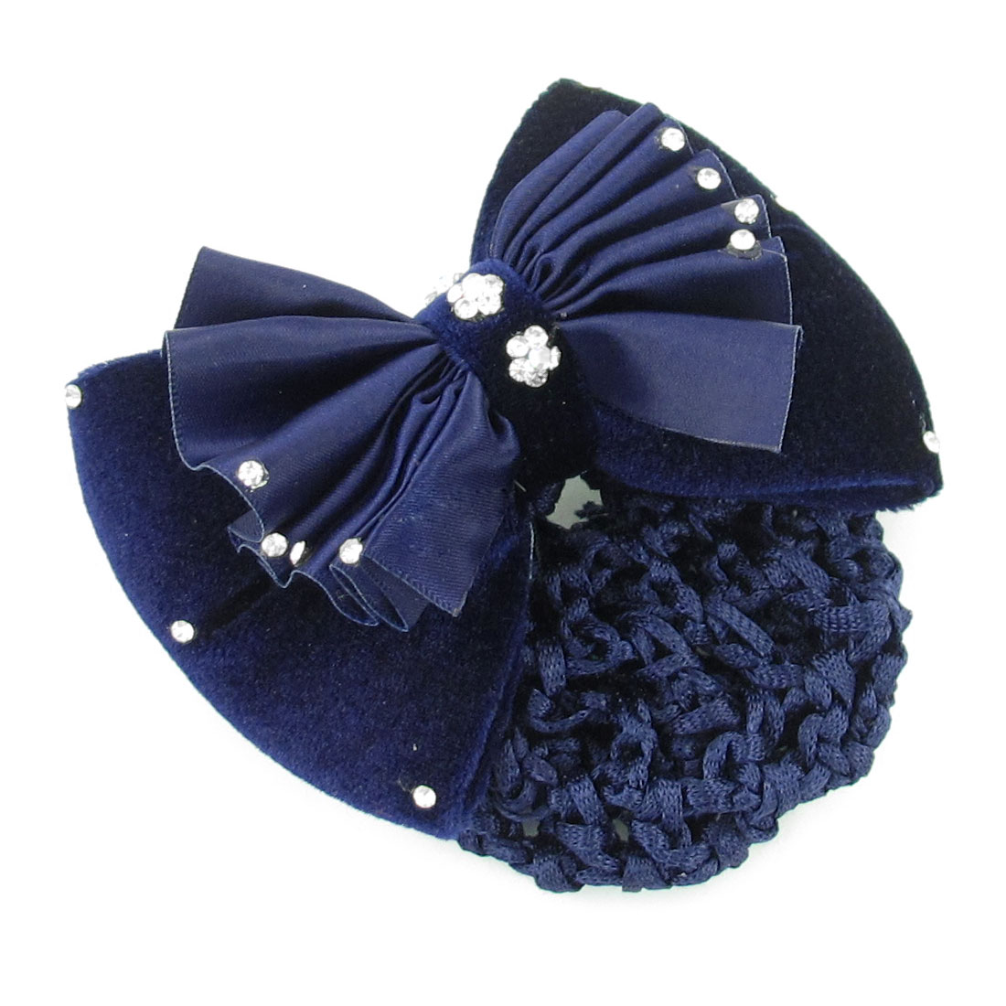 Dark Blue Plicated Bowknot Decor Snood Net Hair Clip Hairnet Hairclip for Women