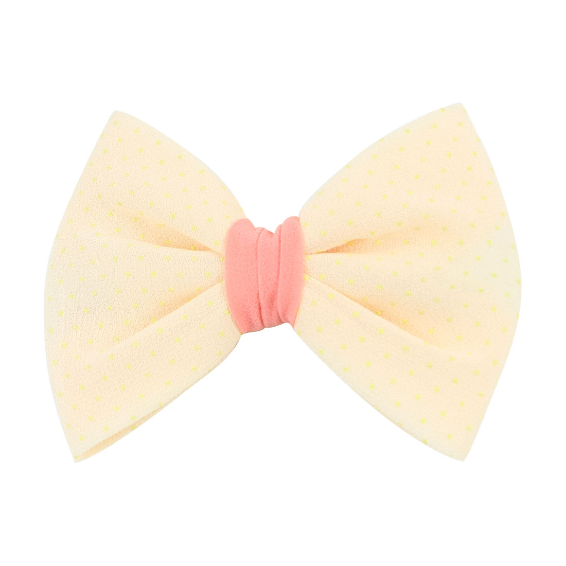 Woman Apricot Color Dotted Bowknot Light Orange Accent Alligator Hair Clip