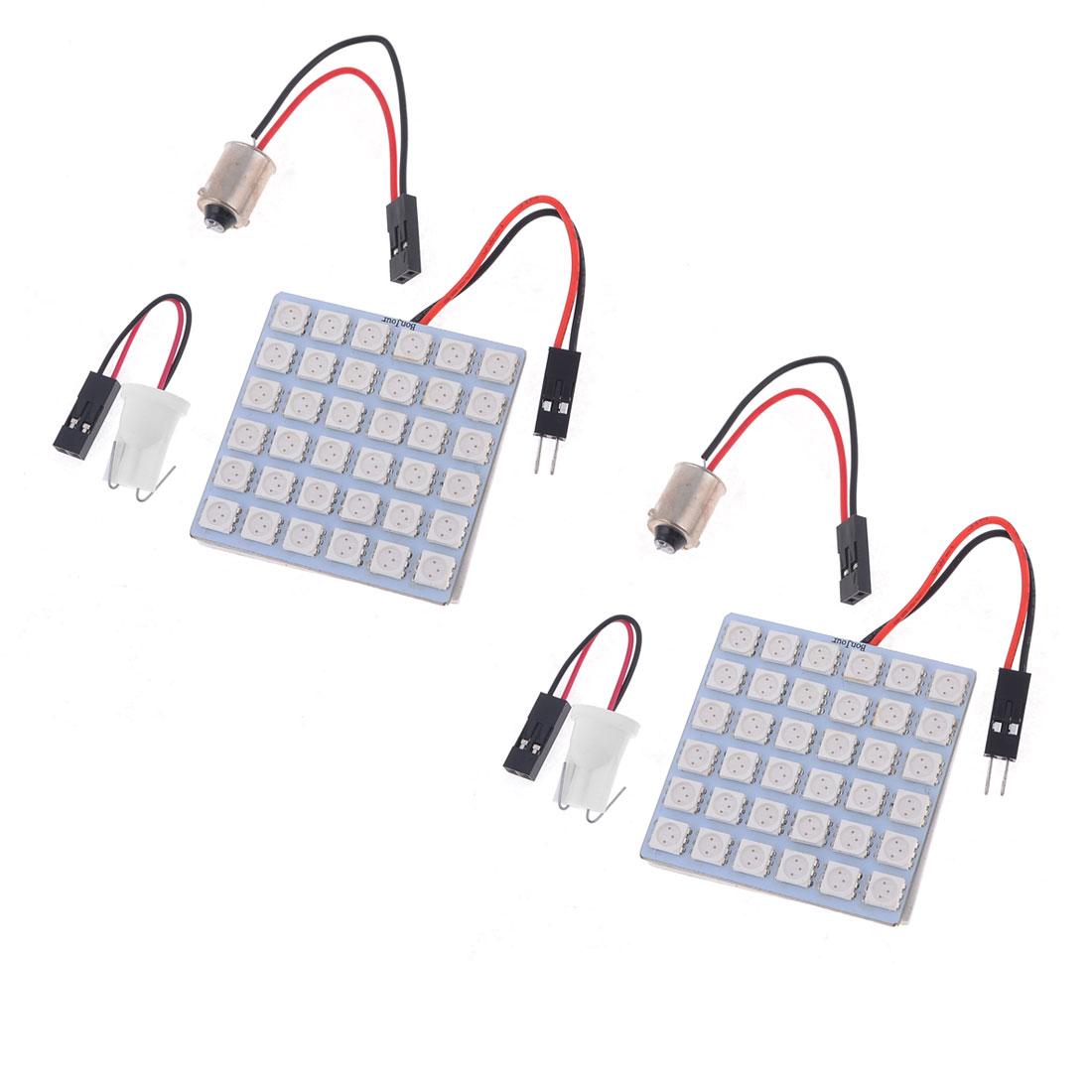 2pcs Red Light Panel 36-SMD 5050 LED Lamp T10 Festoon Dome Bulb BA9S Adapter 12V
