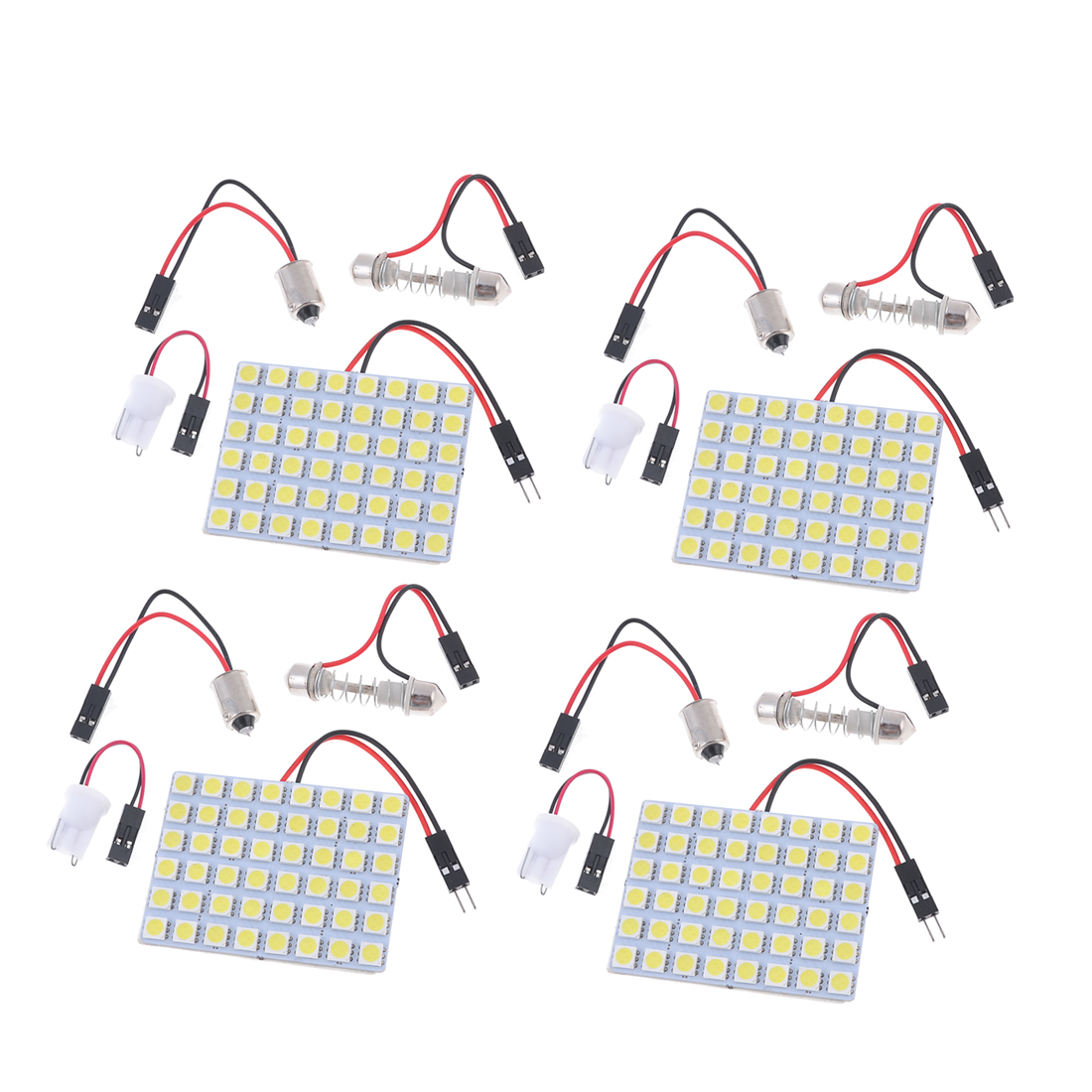 White Car 48-SMD 5050 LED Lamp Light Panel T10 Dome Bulb BA9S Adapter 4PCS