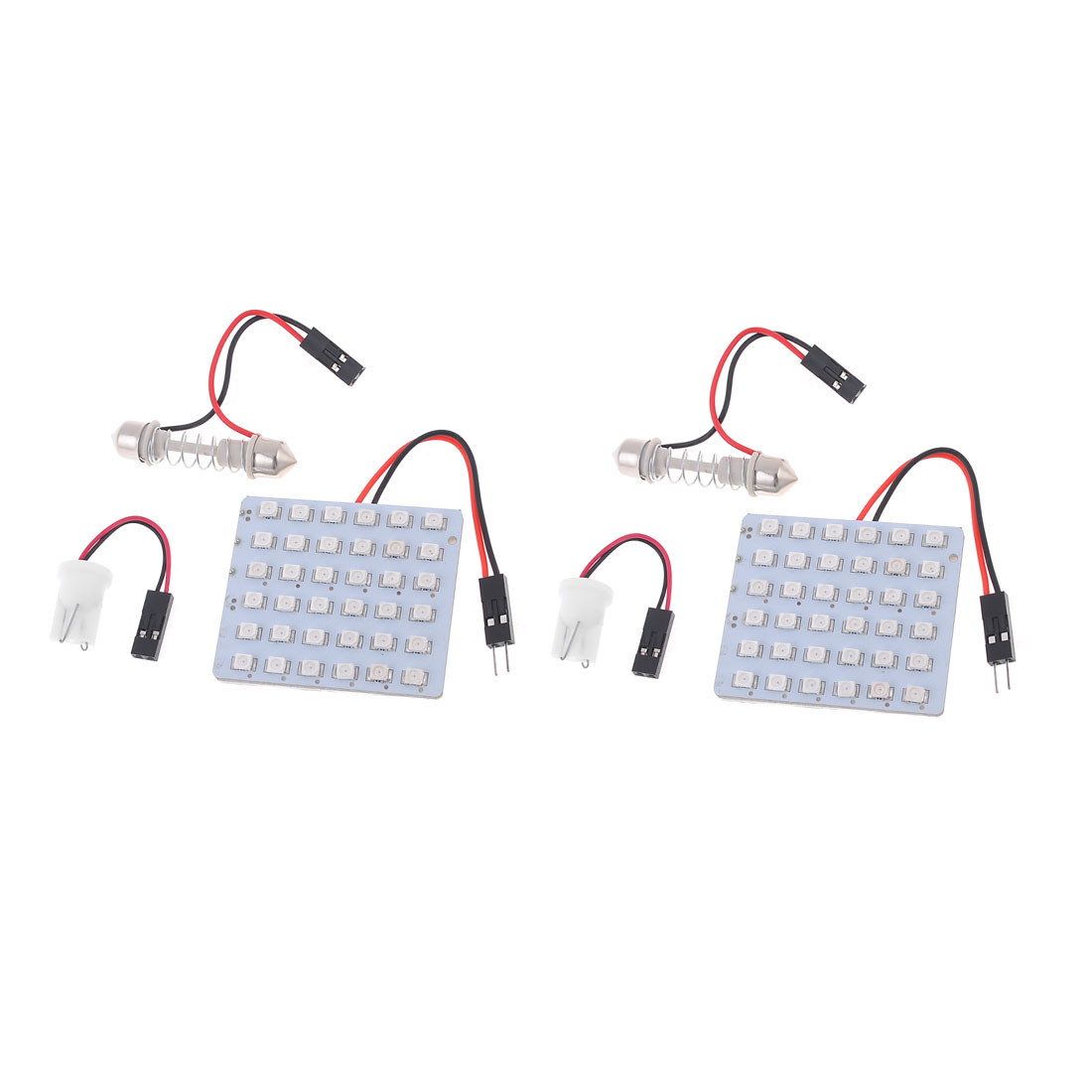 2pcs DC 12V Red 1210 SMD 36-LED Dome Light Lamp Panel w T10 Festoon Adapter
