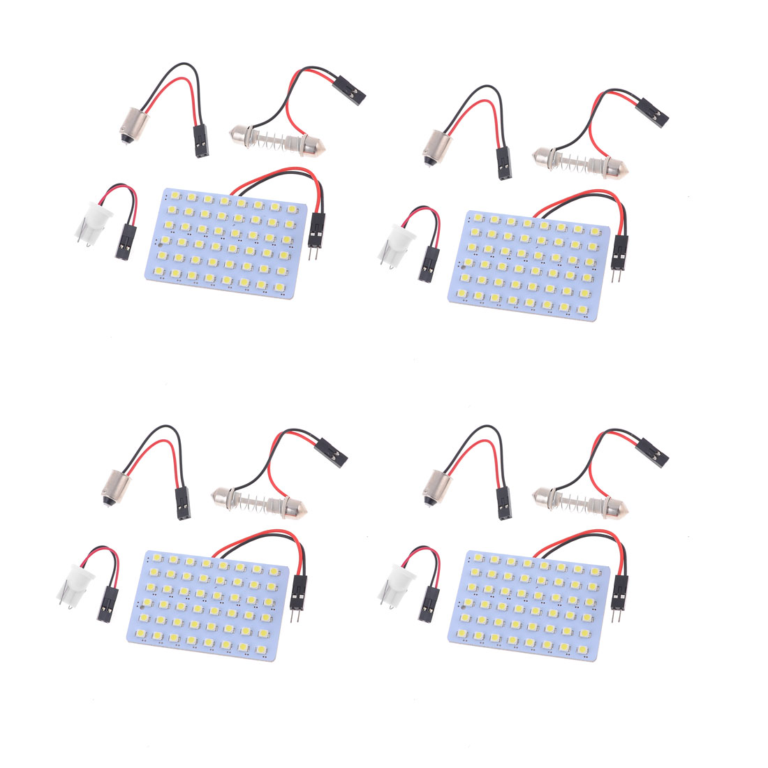4 x White 48-SMD 1210 3528 LED Bulb Lamp Light Panel T10 Dome Bulb BA9S Adapter