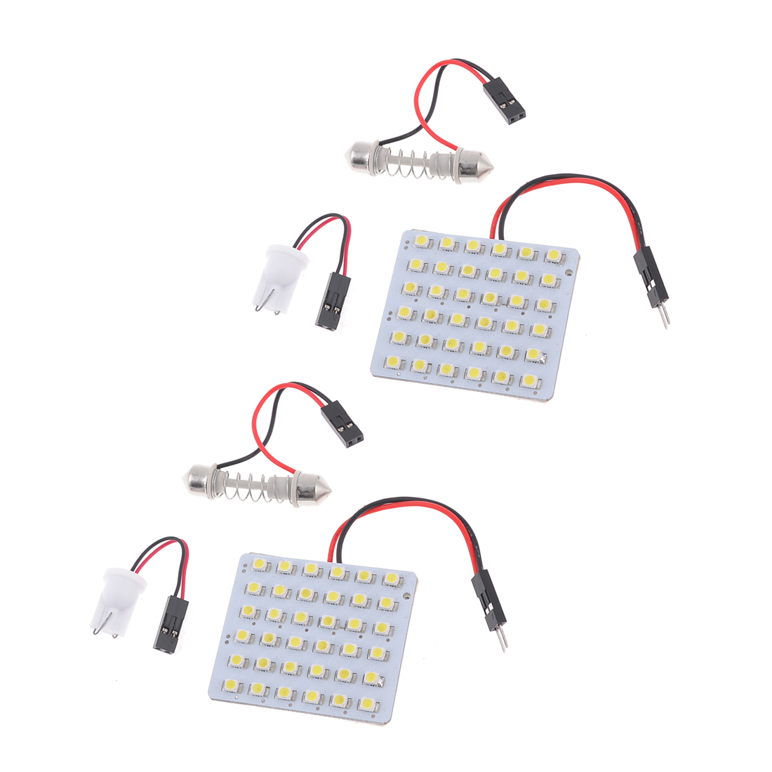 2 x Car T10 Festoon 36-SMD White 1210 3528 LED Panel Interior Dome Map Light