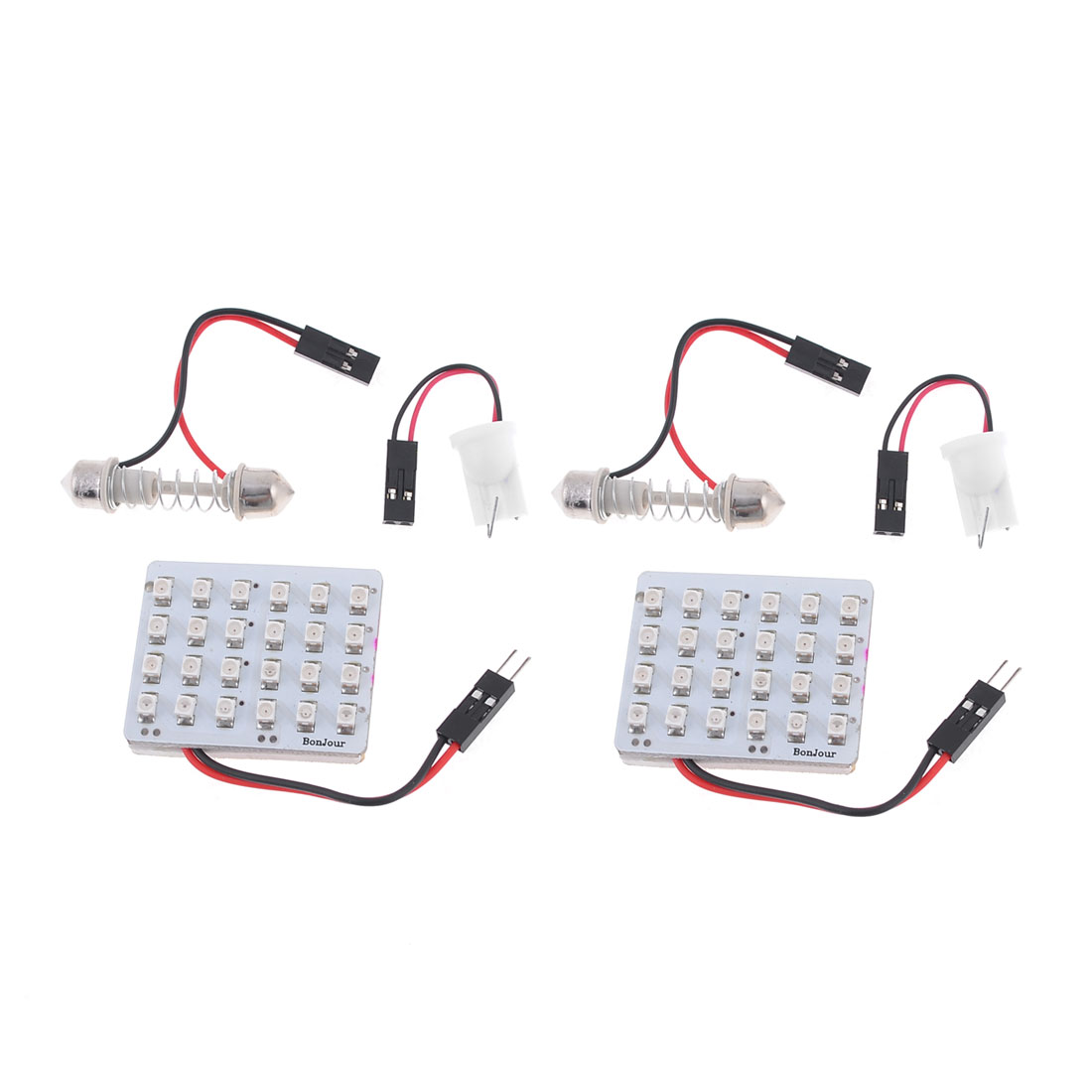 2 x DC 12V Red 1210 SMD 24-LED Dome Light Lamp Panel w T10 Festoon Adapter
