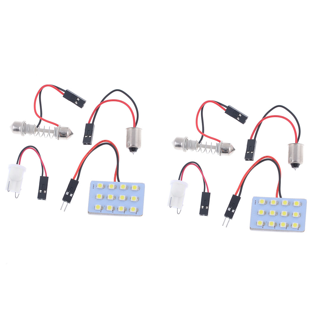 2 x DC 12V White 1210 SMD 12-LED Dome Light Lamp Panel w T10 Festoon Adapter