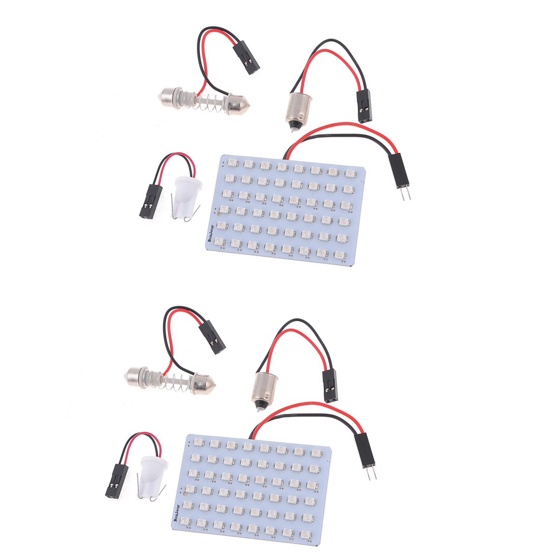 2PCS 12V Blue 1210 SMD 48-LED Dome Light Lamp Panel w T10 Festoon BA9S Adapter