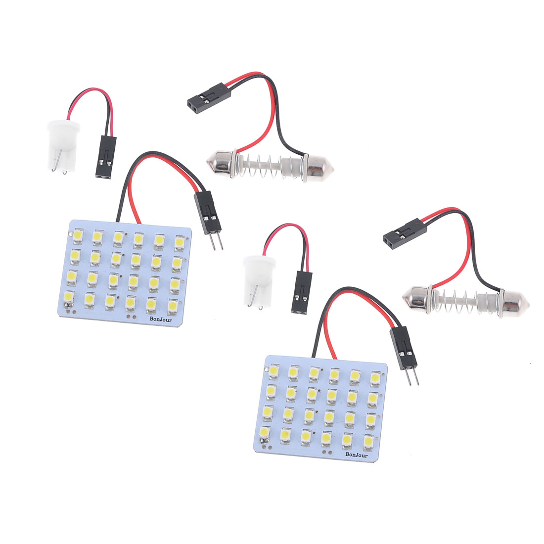 Car White 24-SMD 3528 LED Festoon Dome Light Lamp Panel + T10 Adapter 12V 2PCS