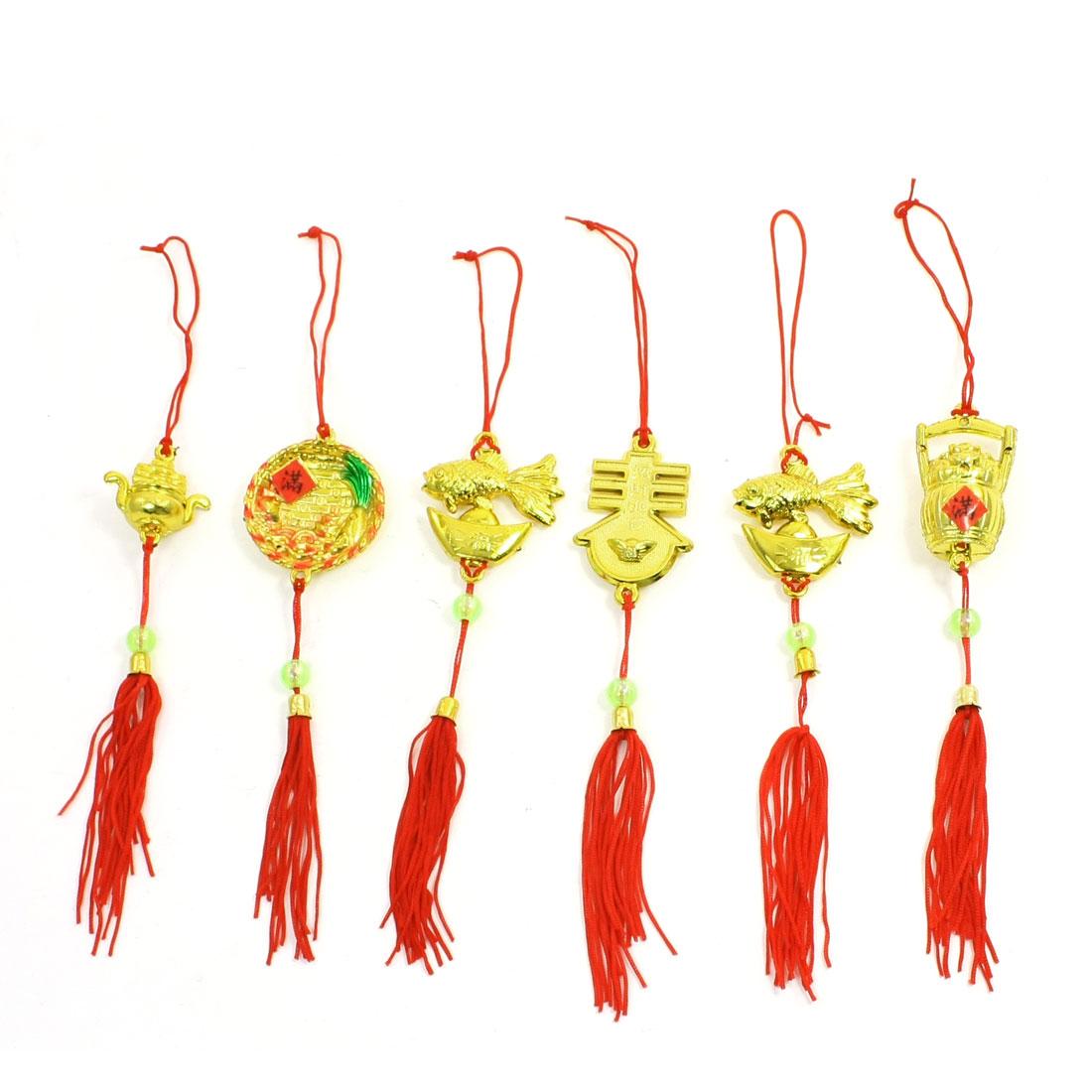 6 Pcs Red Tassel Gold Tone Classic Style Christmas Hanging Pendant Ornament