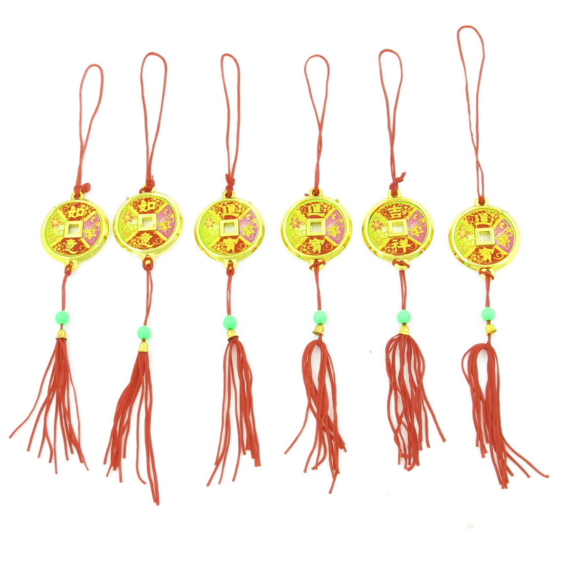 Colorful Copper Cash w Red Tassel Christmas Hanging Pendant 6 Pcs