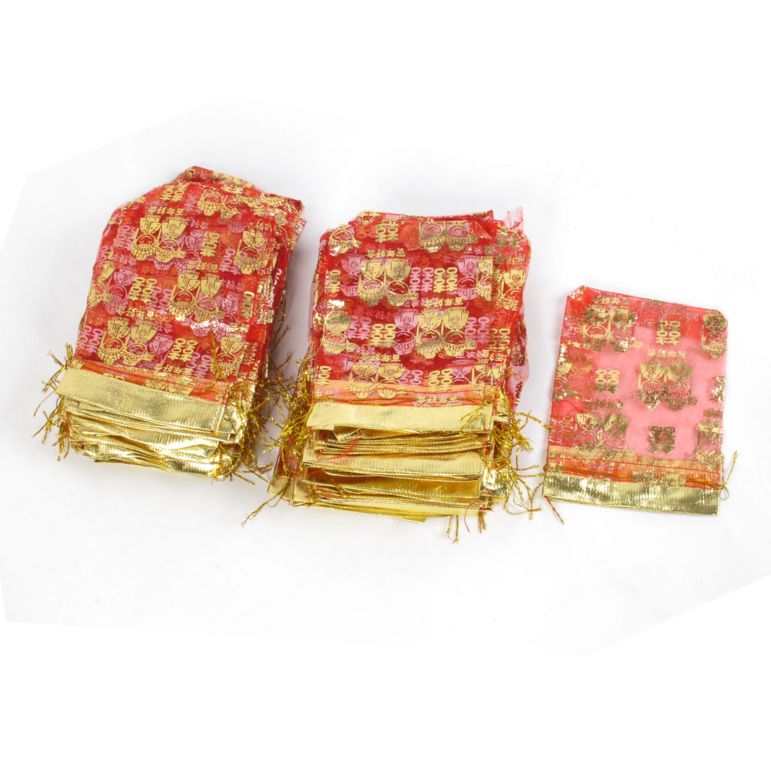 100 Pcs Gold Tone Double Happiness Printed Red Organza Gift Bags