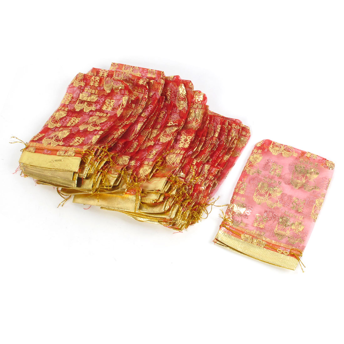 50 Pcs Red Gold Tone Chinese Double Happiness Wedding Organza Gift Bag