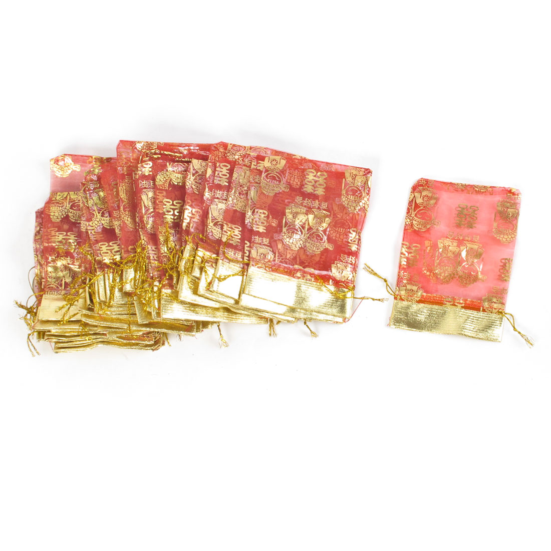 50 Pcs Gold Tone Double Happiness Pattern Red Organza Gift Bags
