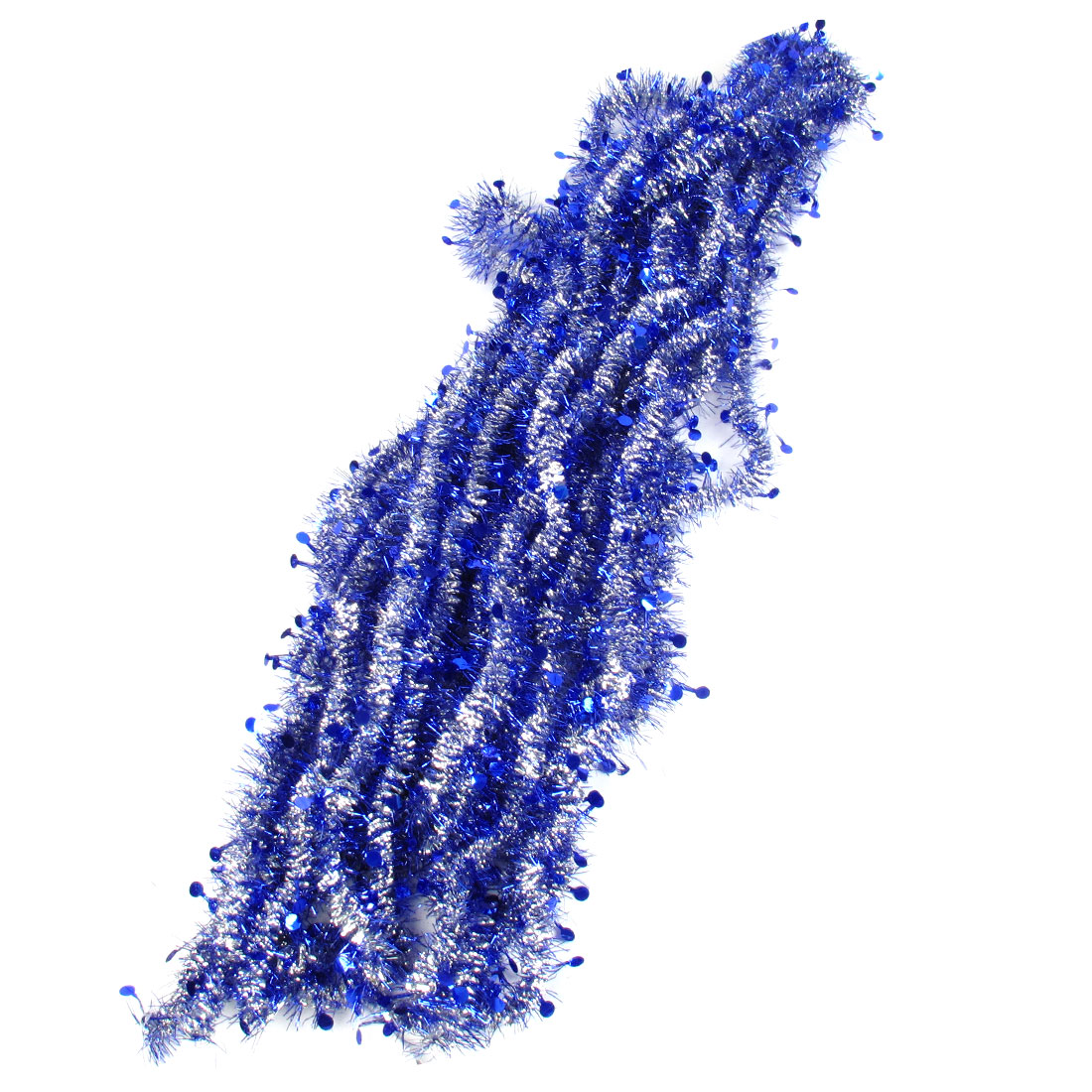 Blue Silver Tone Sparkly Fluffy Christmas Party Wedding Decor Tinsel Garland 10 Pcs